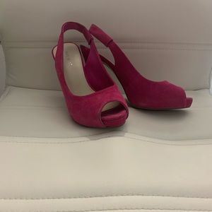 Bright pink suede heels from Nine West